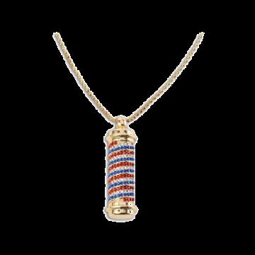 Barber Pole Rhinestone Bling Necklace